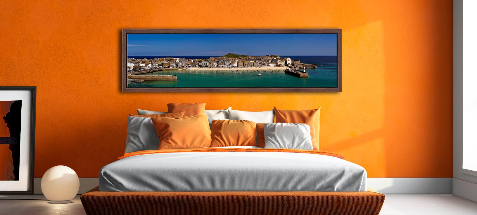 St Ives Harbour Panorama - Walnut floater frame with acrylic glazing on Wall