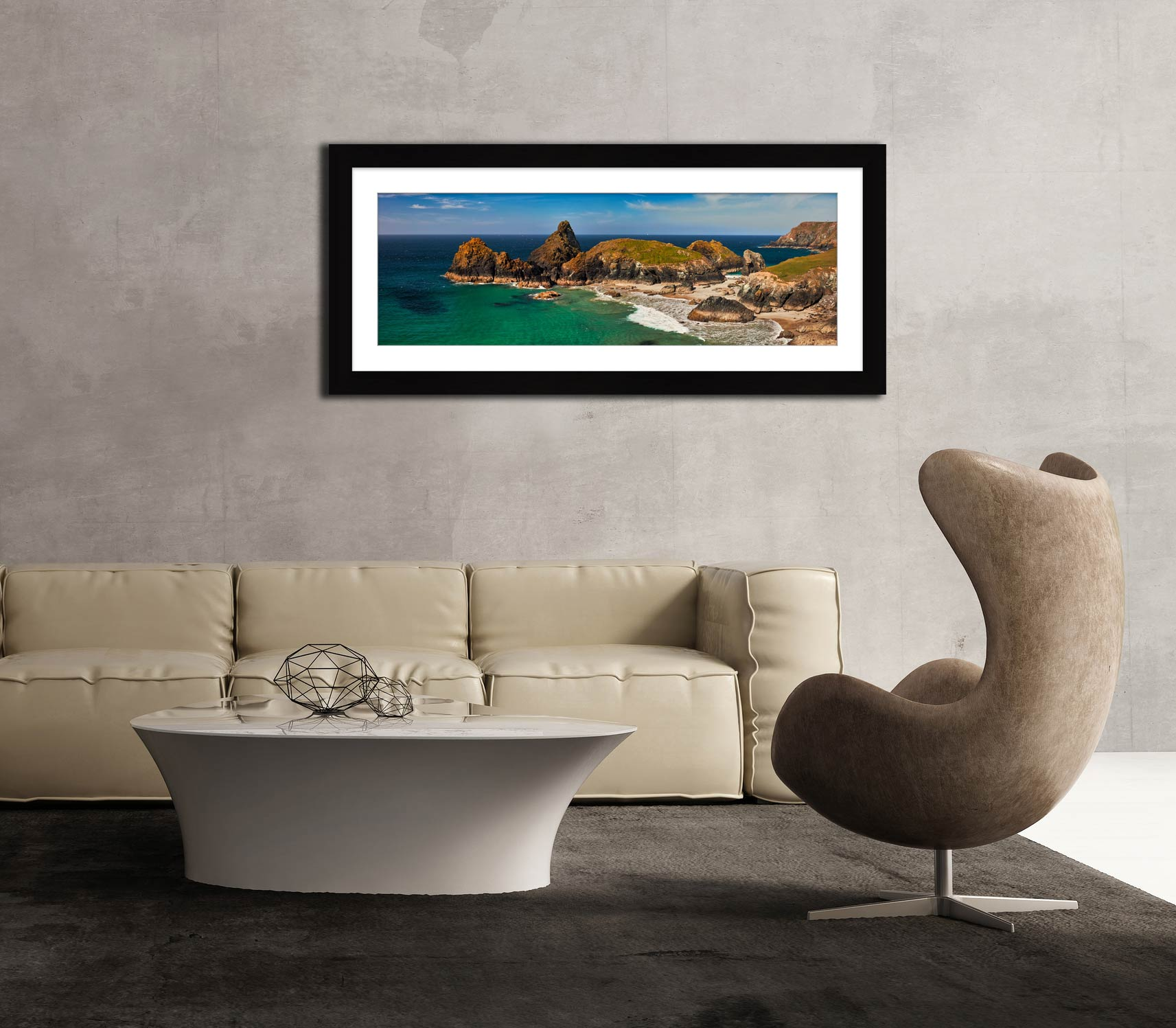Godrevy Autumn Sunset - Framed Print with Mount on Wall