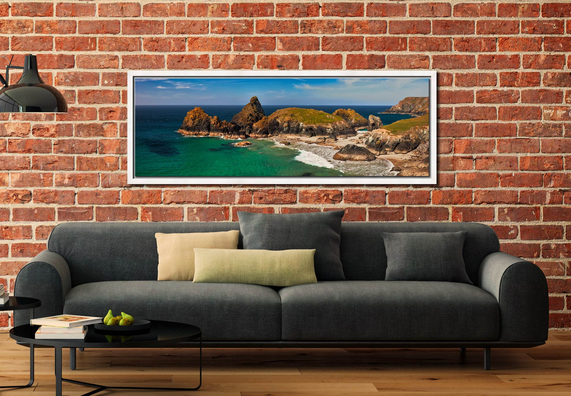 The rock stack and islands at Kynance Cove on the Lizard on Cornwall - White Maple floater frame with acrylic glazing on Wall