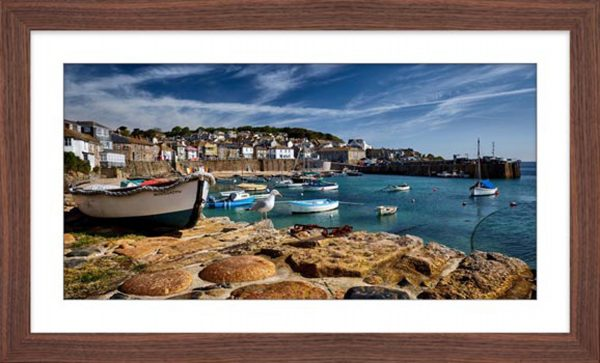 Mousehole Harbour Cornwall - Framed Print with Mount