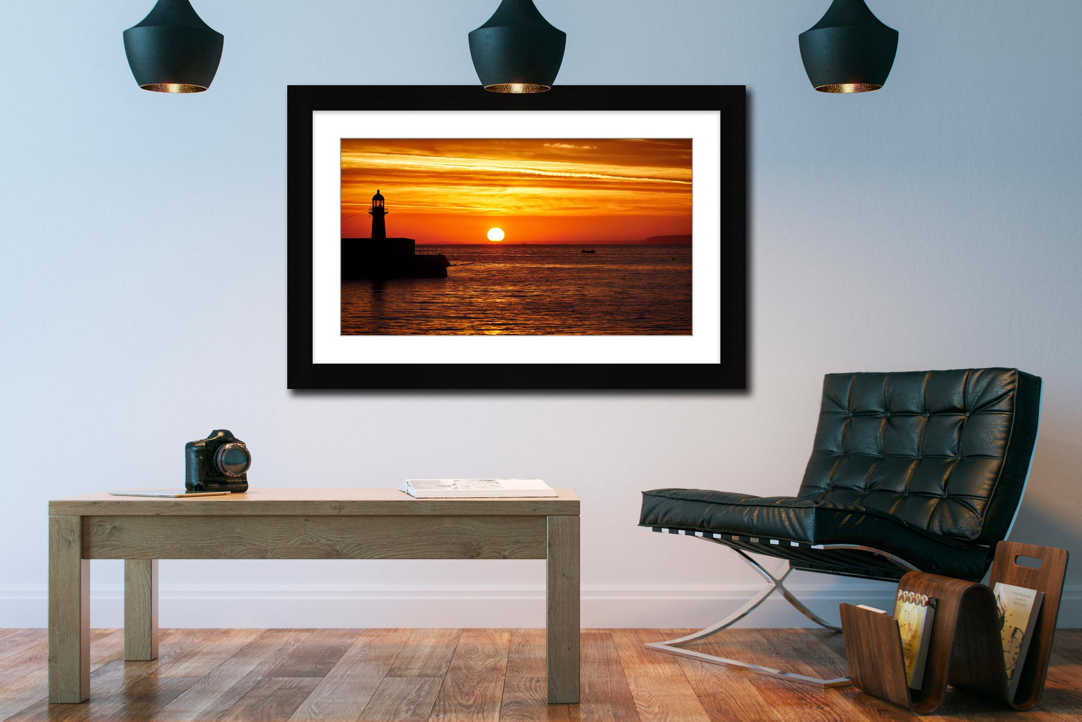 St Ives Harbour Sunrise - Framed Print with Mount on Wall