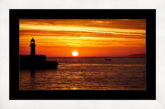 St Ives Harbour Sunrise - Framed Print with Mount