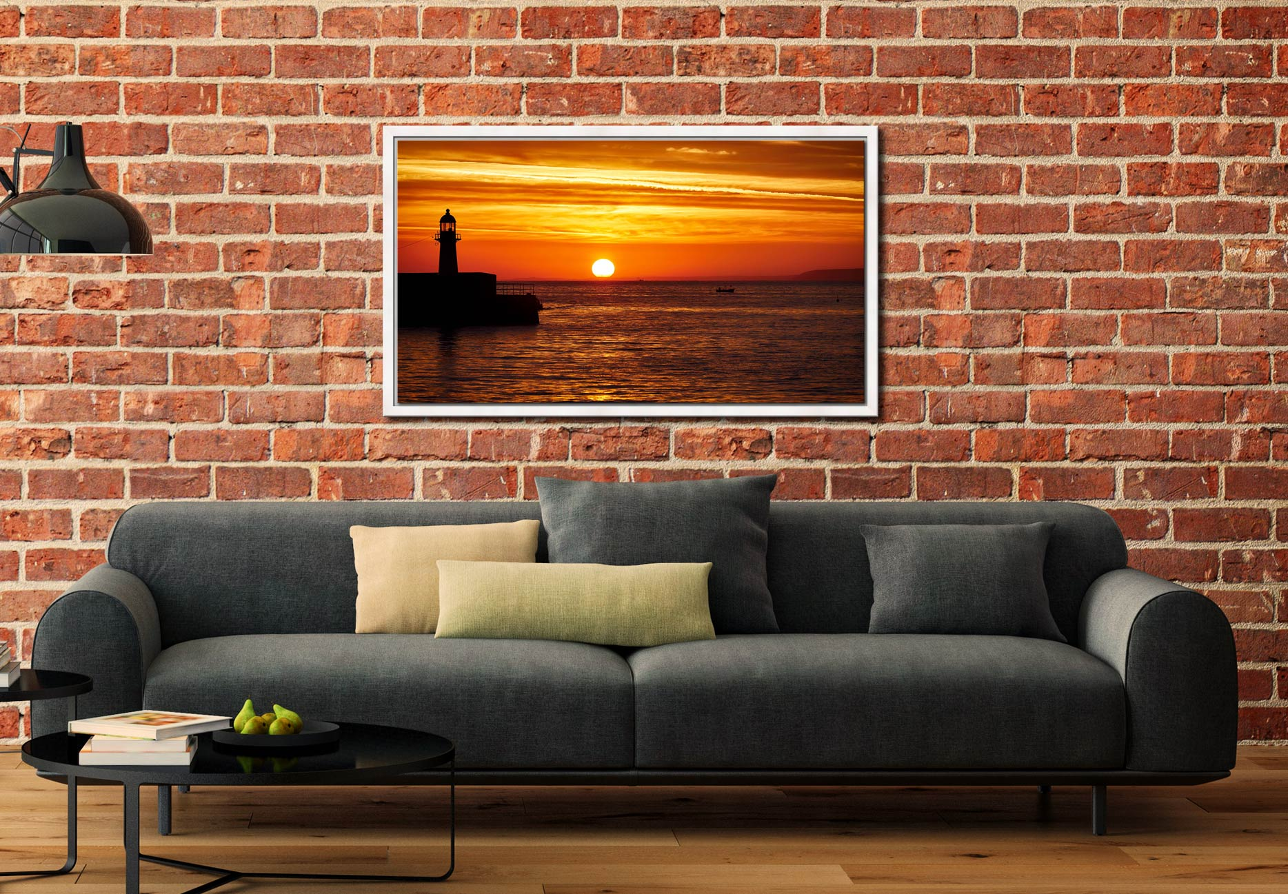 St Ives Harbour Sunrise - White Maple floater frame with acrylic glazing on Wall