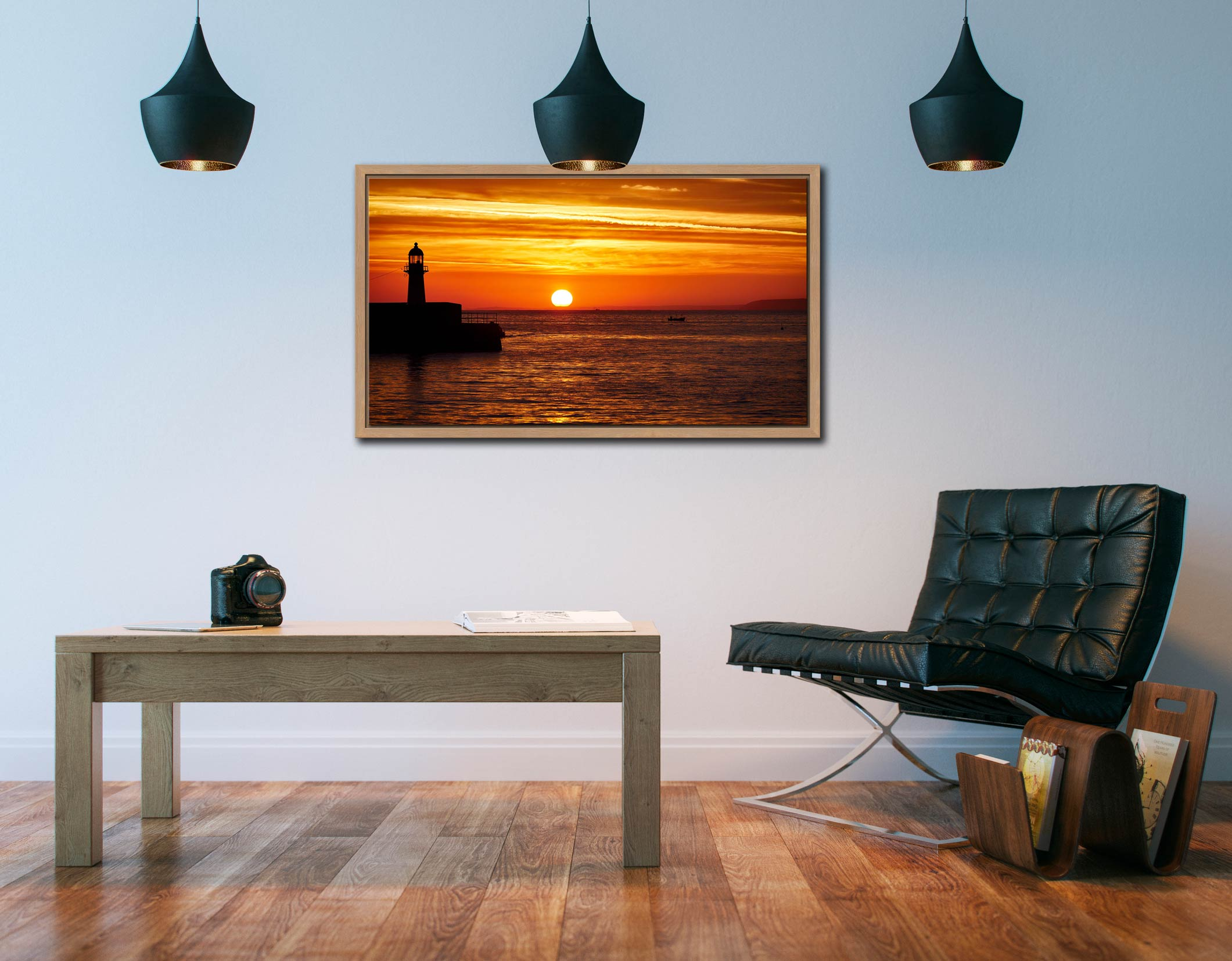 St Ives Harbour Sunrise - Oak floater frame with acrylic glazing on Wall