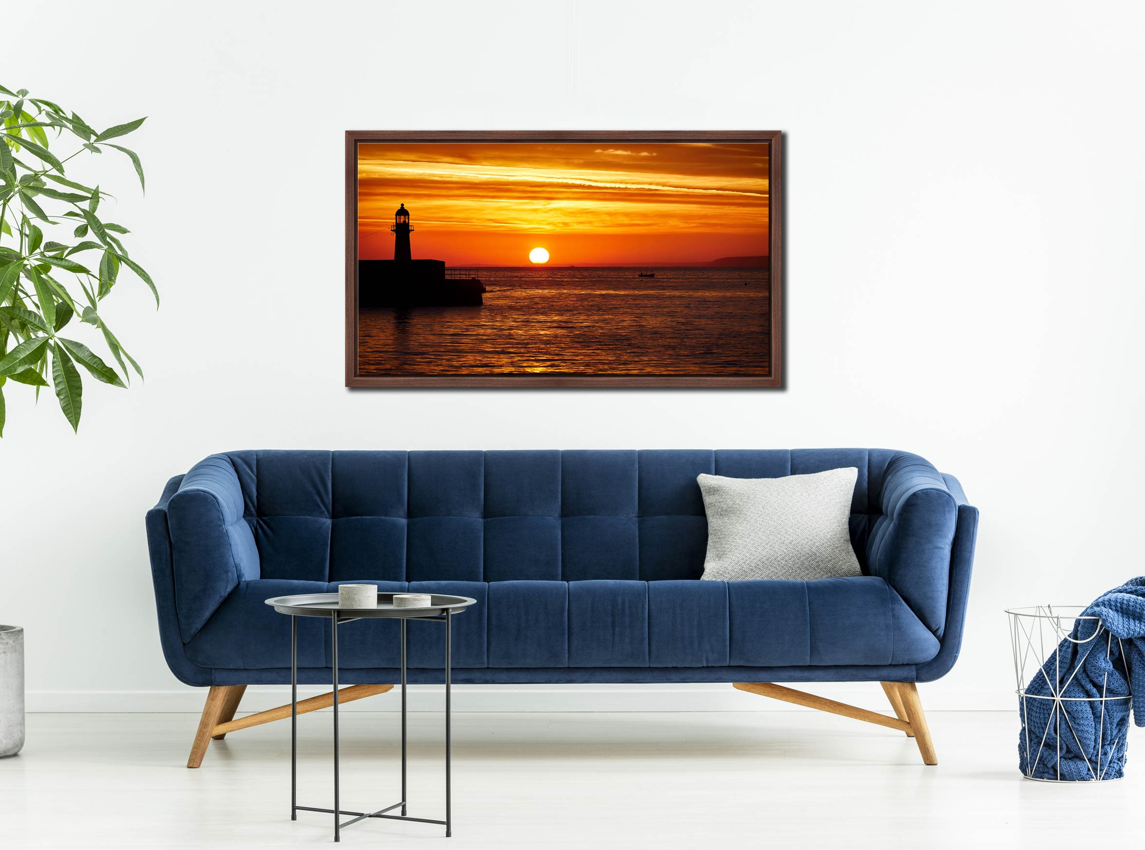 St Ives Harbour Sunrise - Walnut floater frame with acrylic glazing on Wall