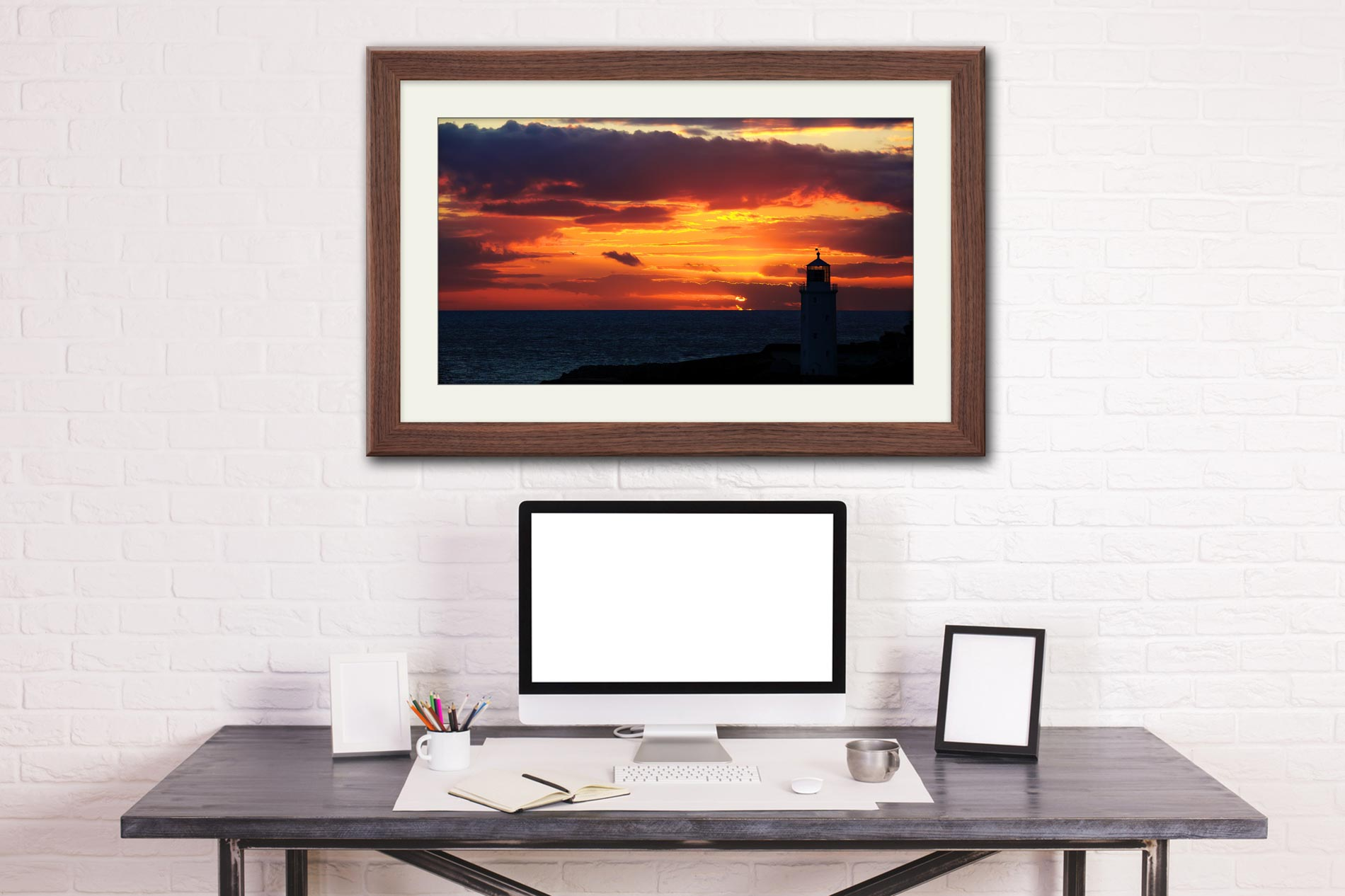 Golden Skies Over Godrevy - Framed Print with Mount on Wall