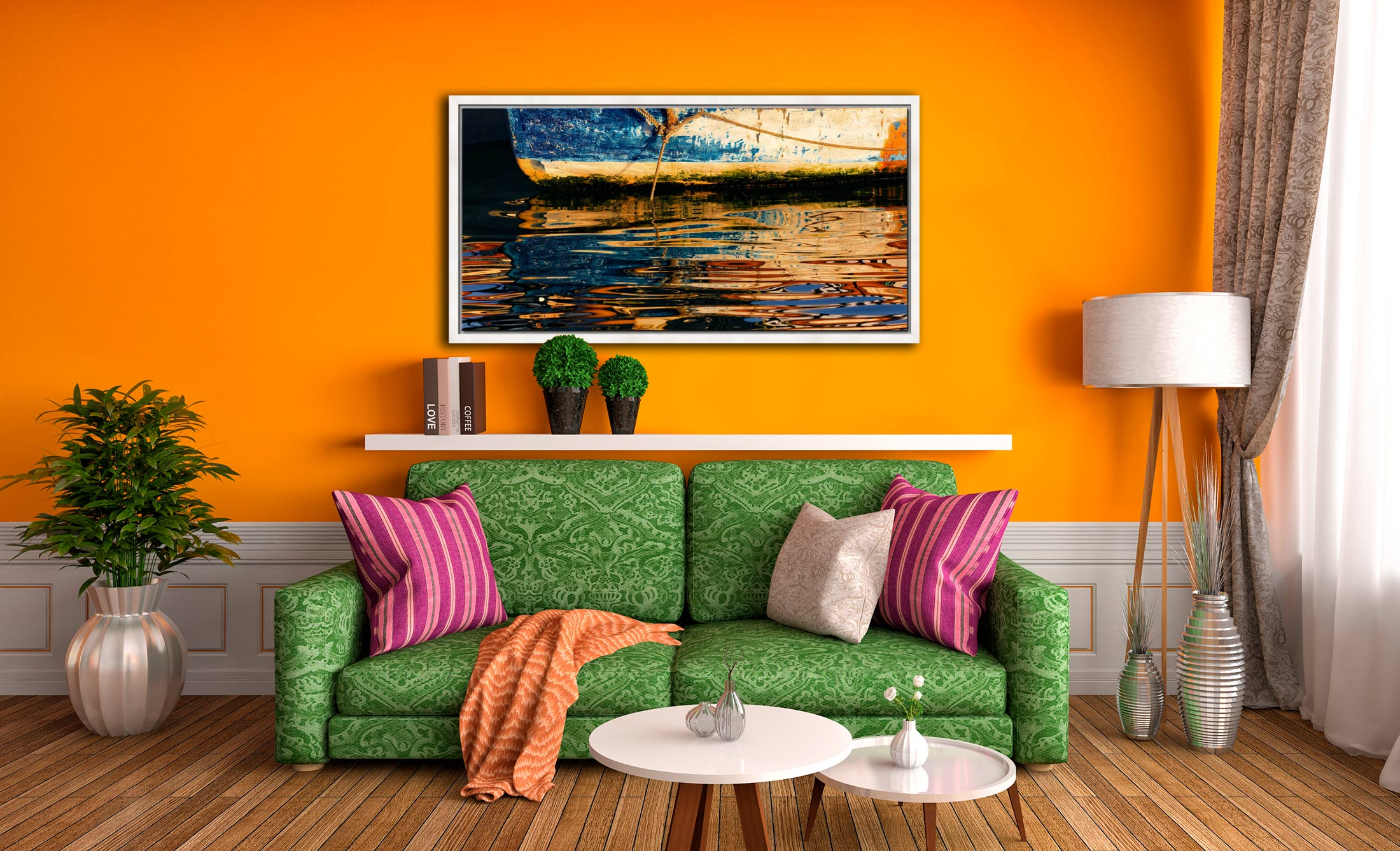 Dawn Harbour Colours - White Maple floater frame with acrylic glazing on Wall