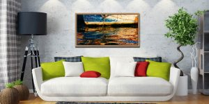 Dawn Harbour Colours - Oak floater frame with acrylic glazing on Wall
