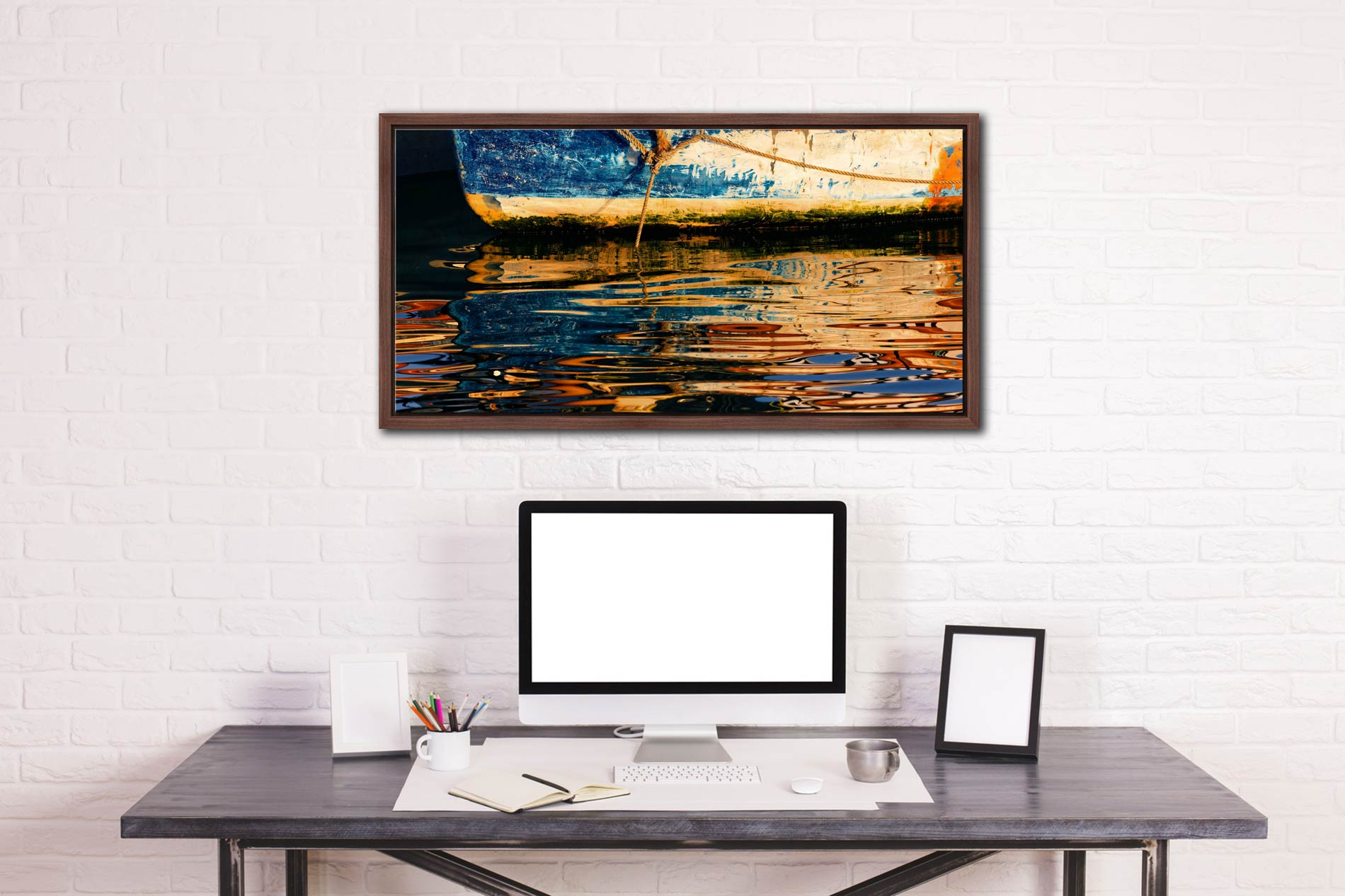 Dawn Harbour Colours - Walnut floater frame with acrylic glazing on Wall