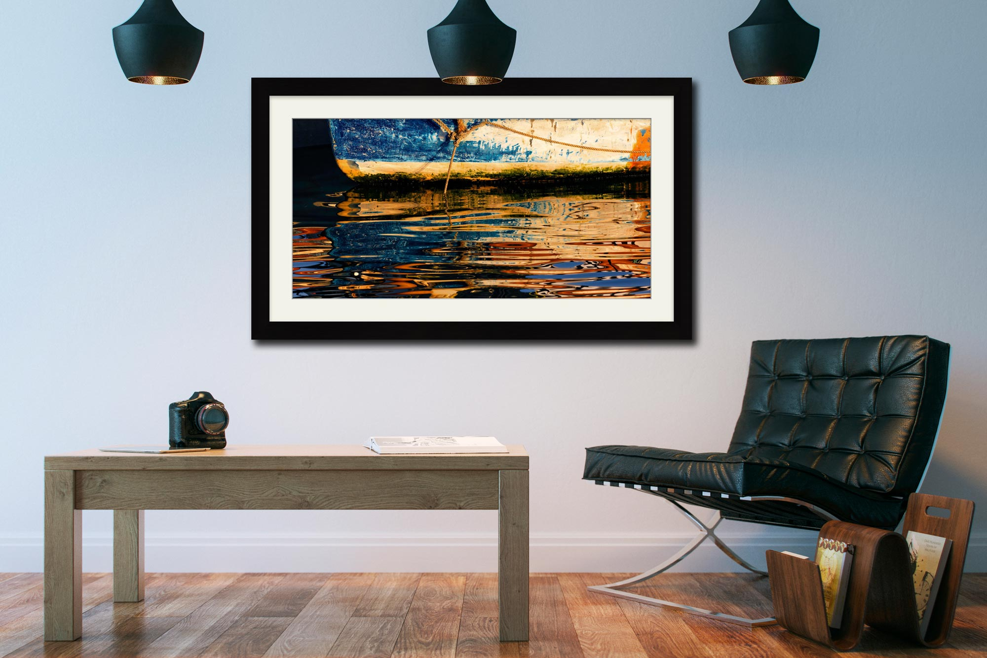 Dawn Harbour Colours - Framed Print with Mount on Wall