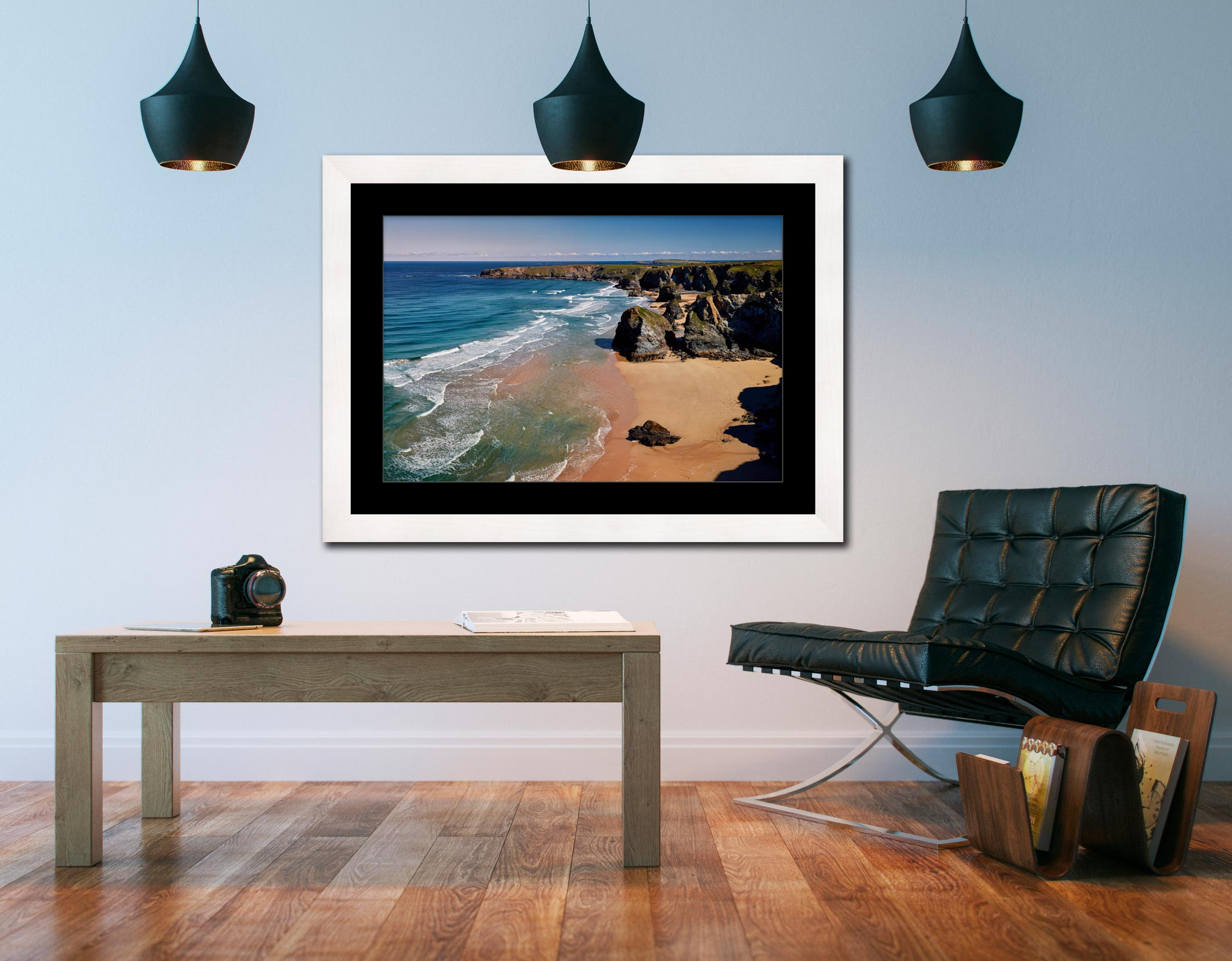 Green Ocean at Bedruthan – Framed Print with Mount on Wall