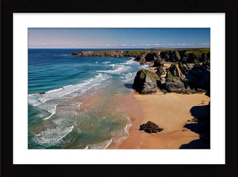 Green Ocean at Bedruthan – Framed Print with Mount