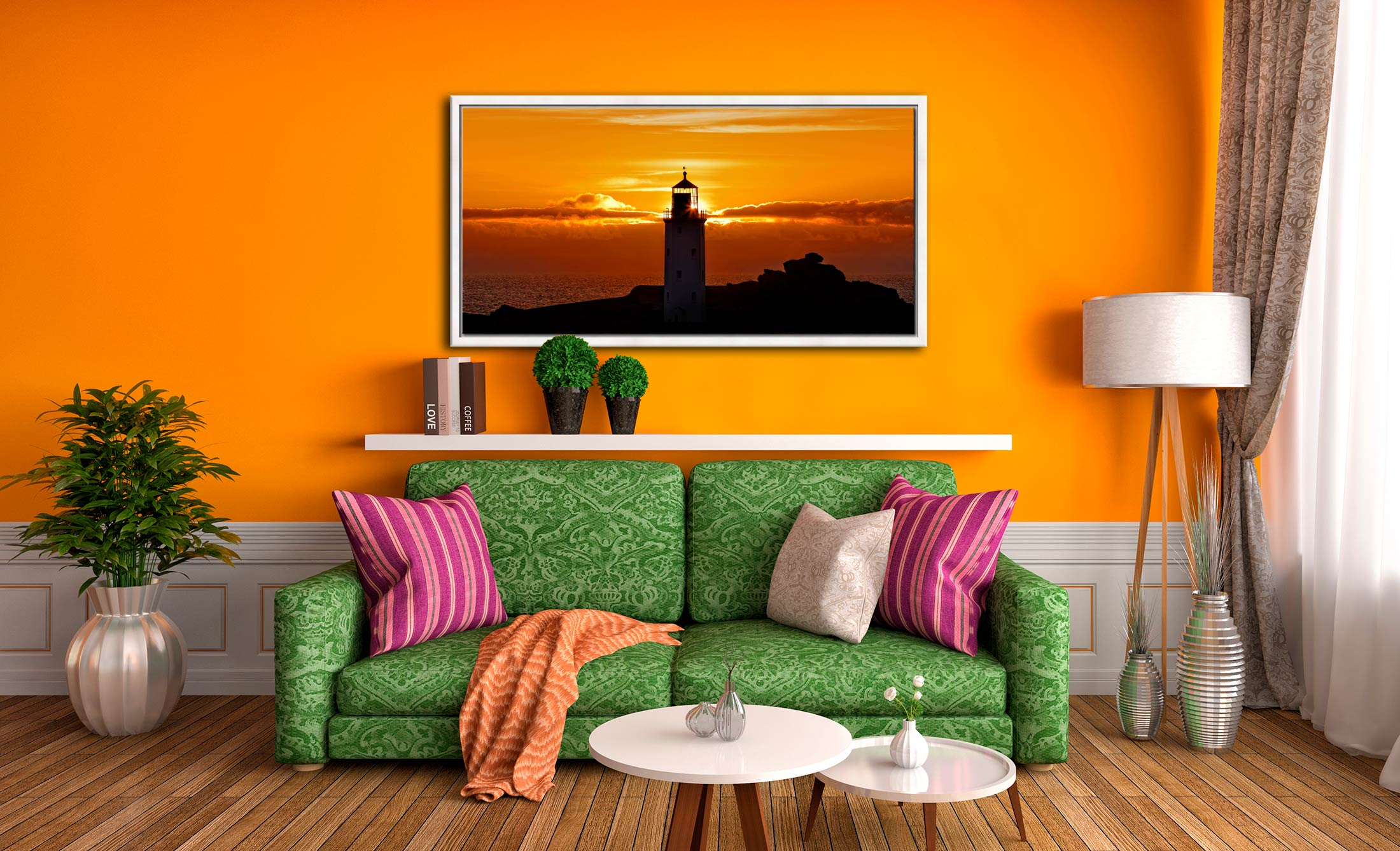Sunbeams of Godrevy Lighthouse - White Maple floater frame with acrylic glazing on Wall