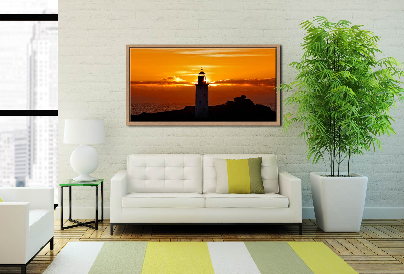 Sunbeams of Godrevy Lighthouse - Oak floater frame with acrylic glazing on Wall