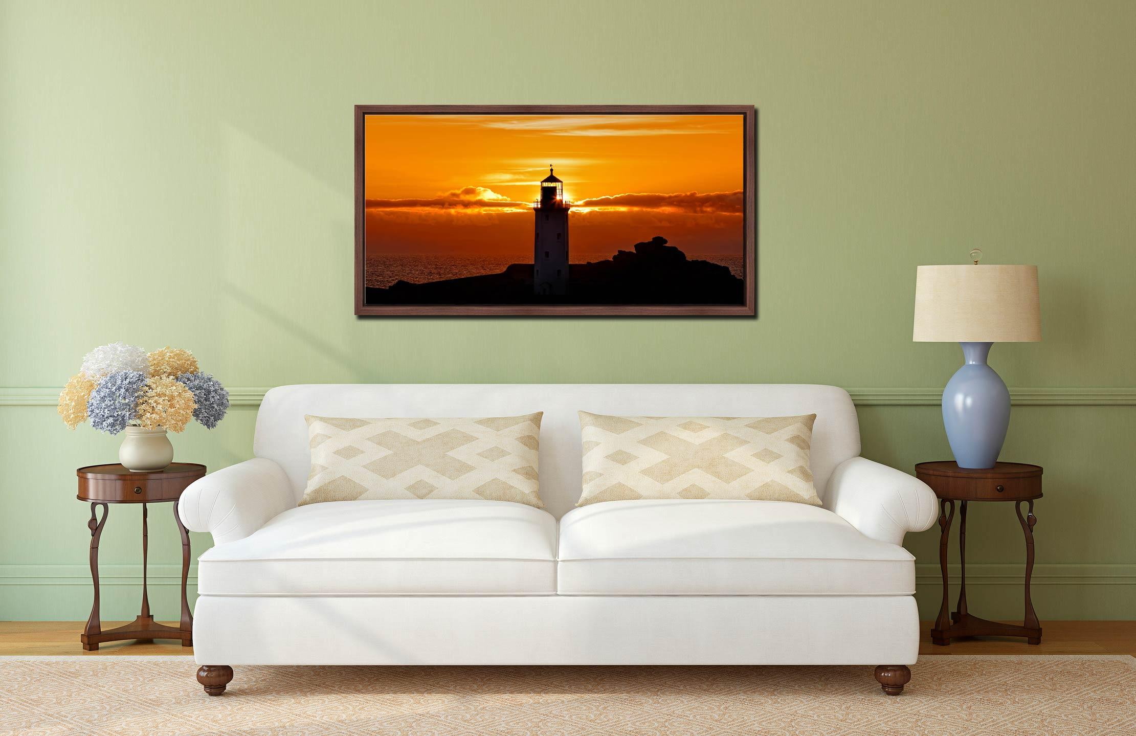Sunbeams of Godrevy Lighthouse - Walnut floater frame with acrylic glazing on Wall