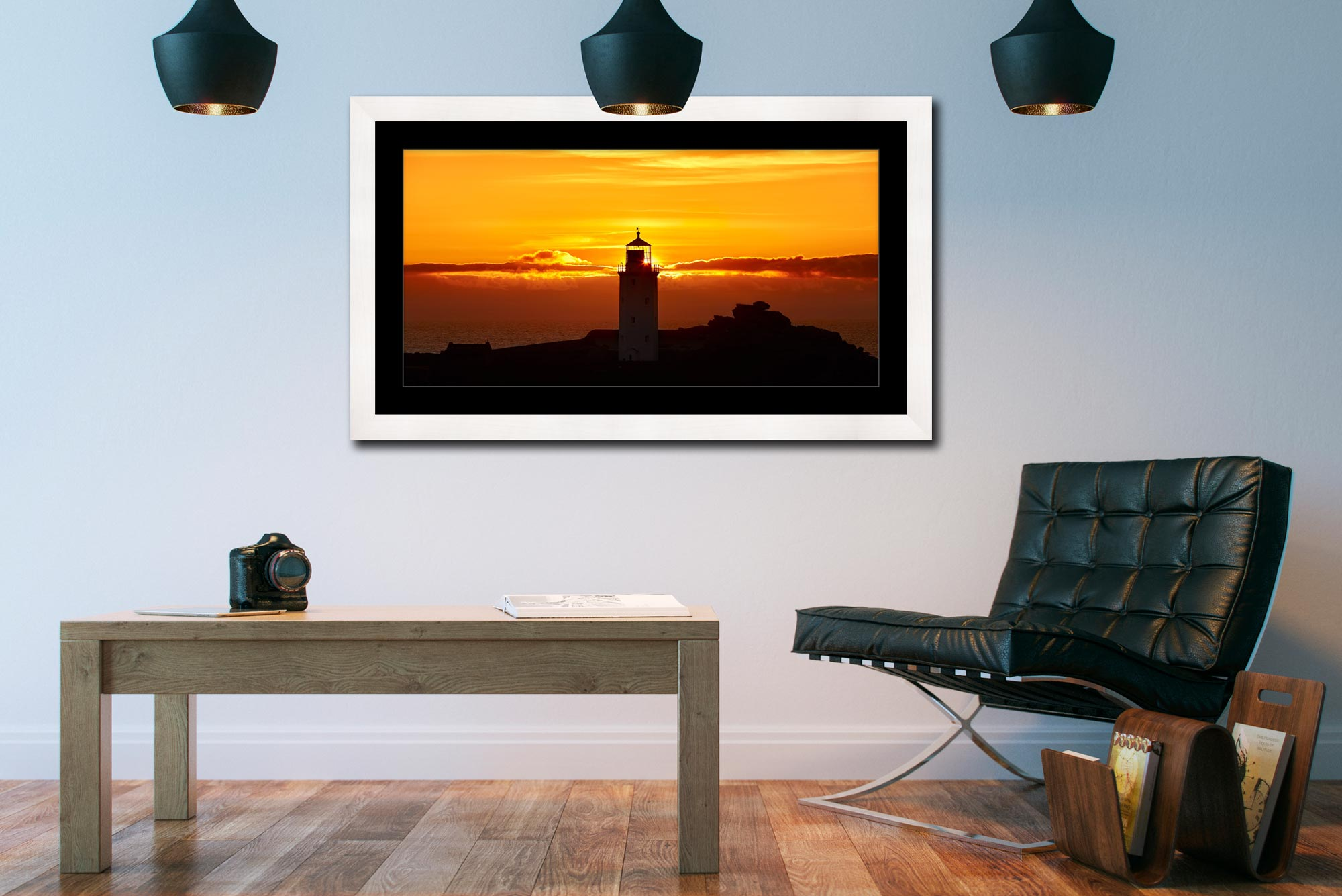 Sunbeams of Godrevy Lighthouse - Framed Print with Mount on Wall