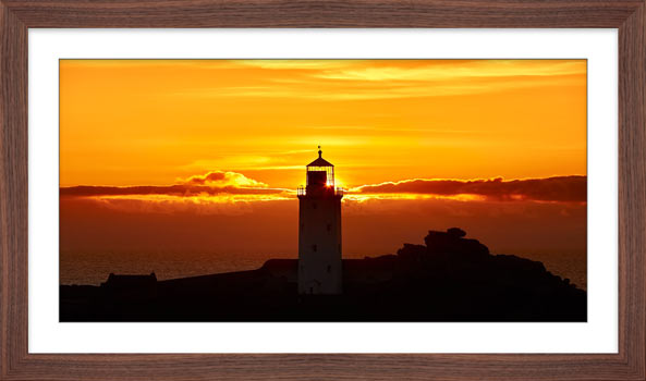 Sunbeams of Godrevy Lighthouse - Framed Print with Mount