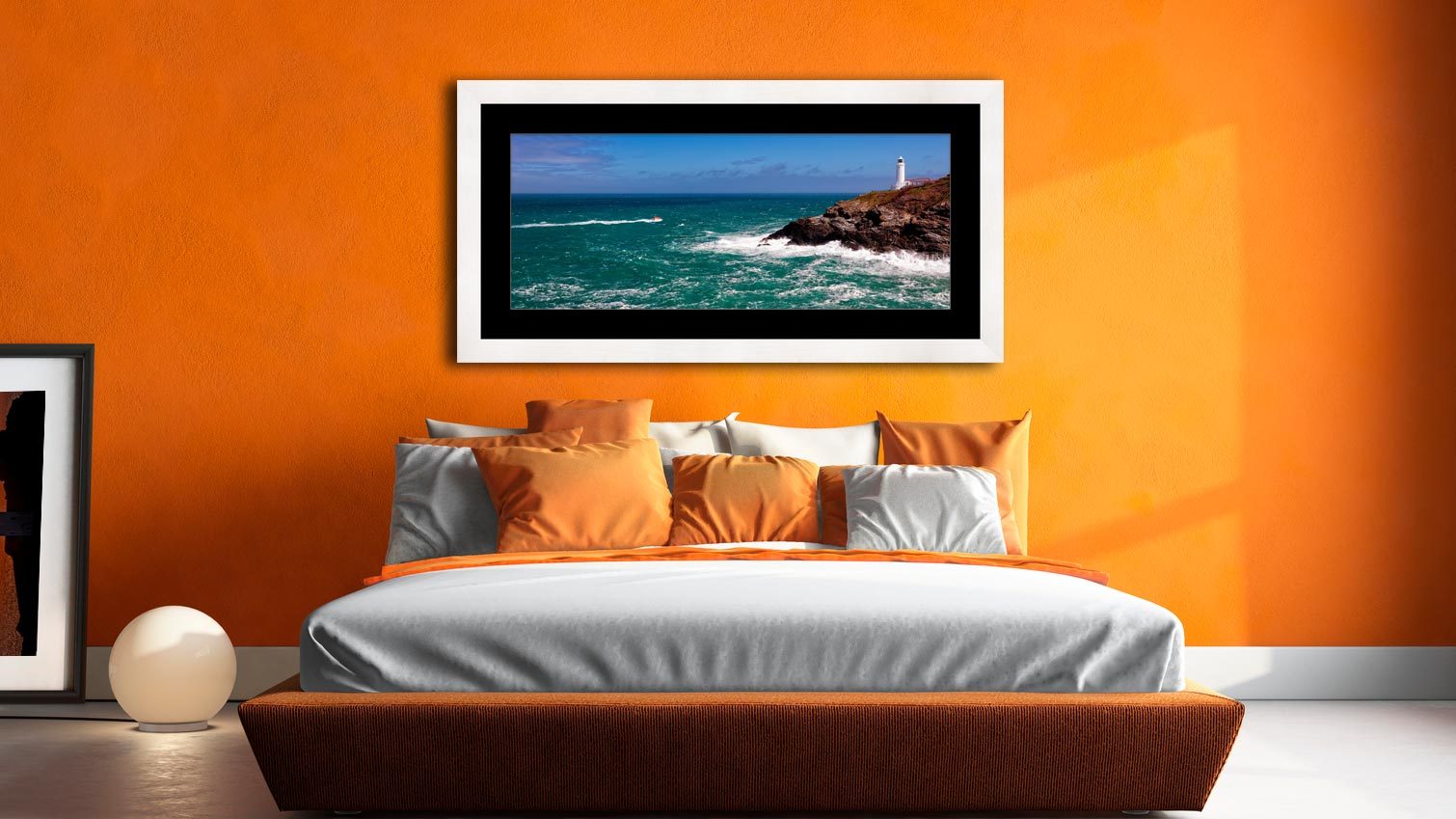 Trevose Head Lighthouse and Lifeboat - Framed Print with Mount on Wall
