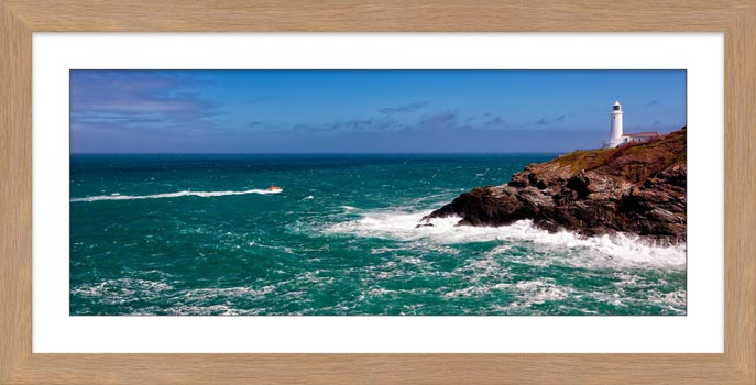 Trevose Head Lighthouse and Lifeboat - Framed Print with Mount