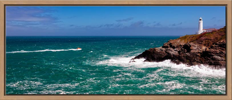 Padstow lifeboat rounding Trevose Head on a very breezy day in Cornwall