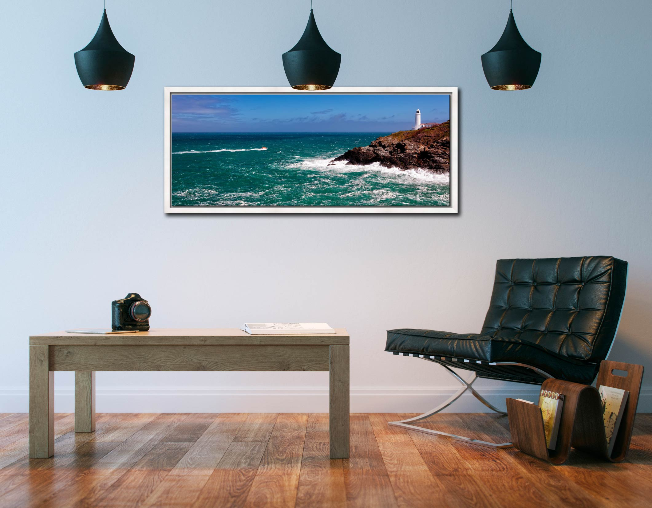 Padstow lifeboat rounding Trevose Head on a very breezy day in Cornwall - White Maple floater frame with acrylic glazing on Wall