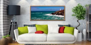 Padstow lifeboat rounding Trevose Head on a very breezy day in Cornwall - Oak floater frame with acrylic glazing on Wall