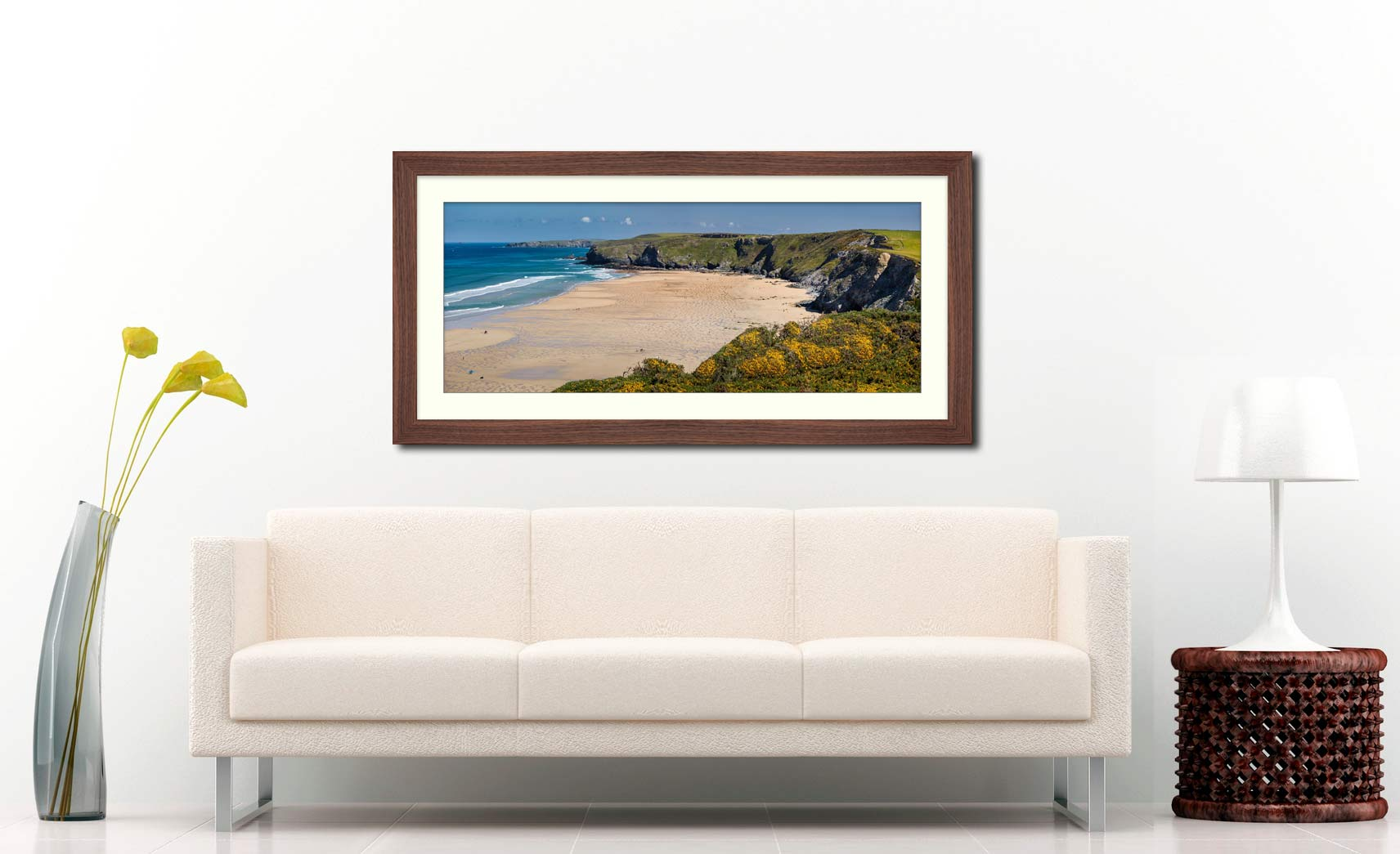 Perranporth Beach - Framed Print with Mount on Wall