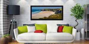 The golden sands of Watergate Bay on a sunny Spring day - Black oak floater frame with acrylic glazing on Wall