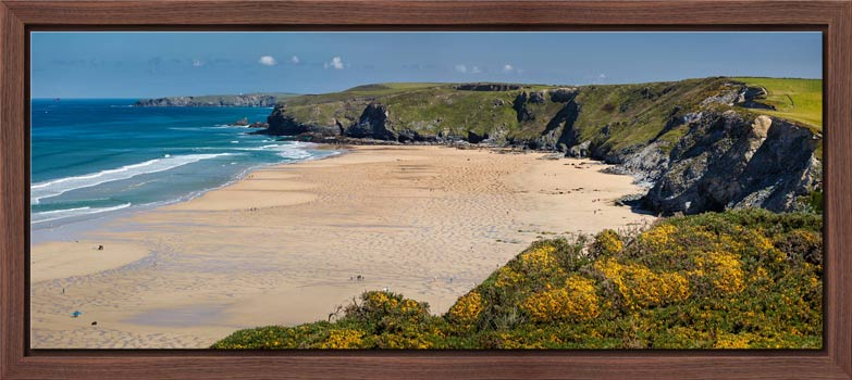 The golden sands of Watergate Bay on a sunny Spring day