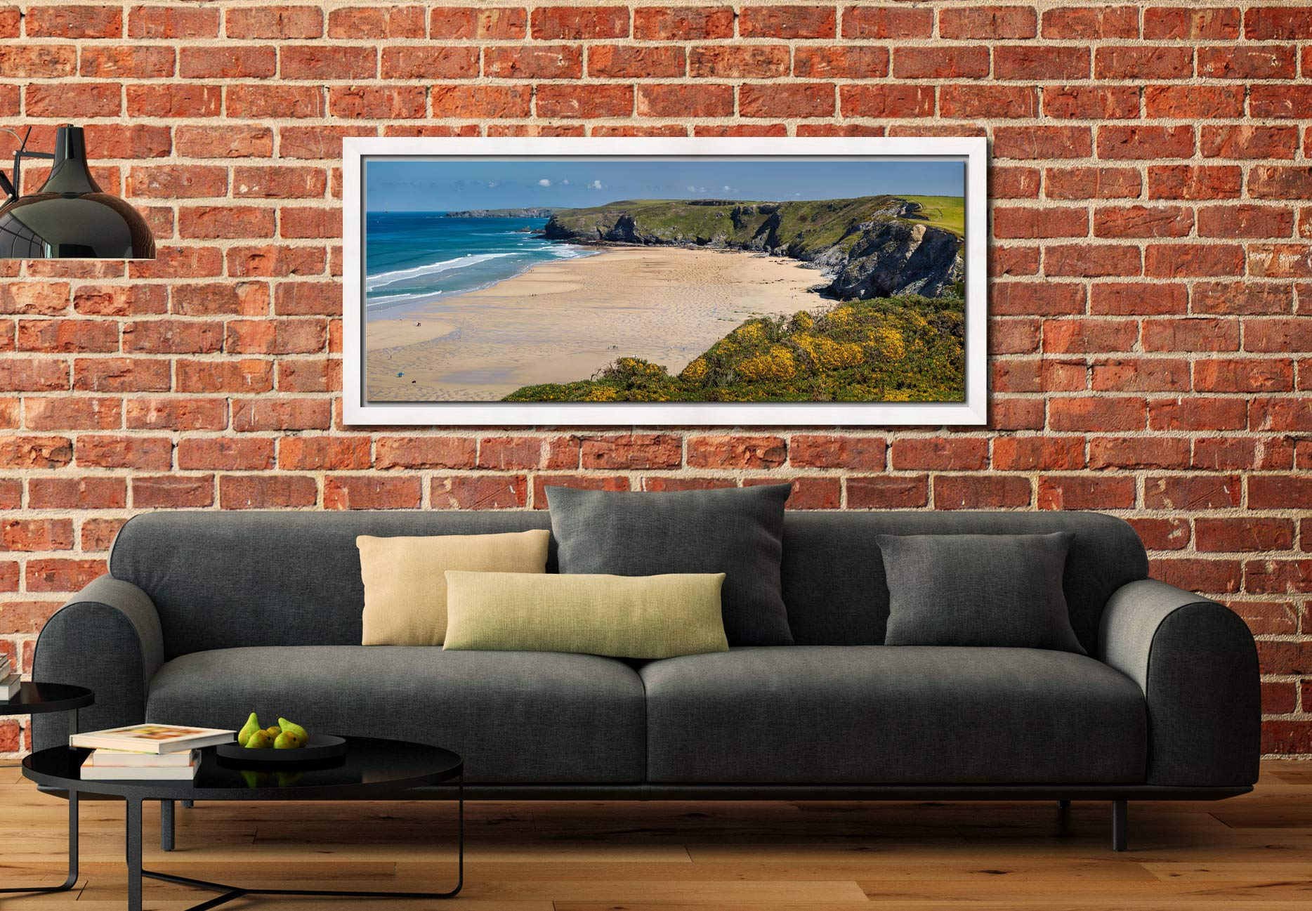 The golden sands of Watergate Bay on a sunny Spring day - White Maple floater frame with acrylic glazing on Wall