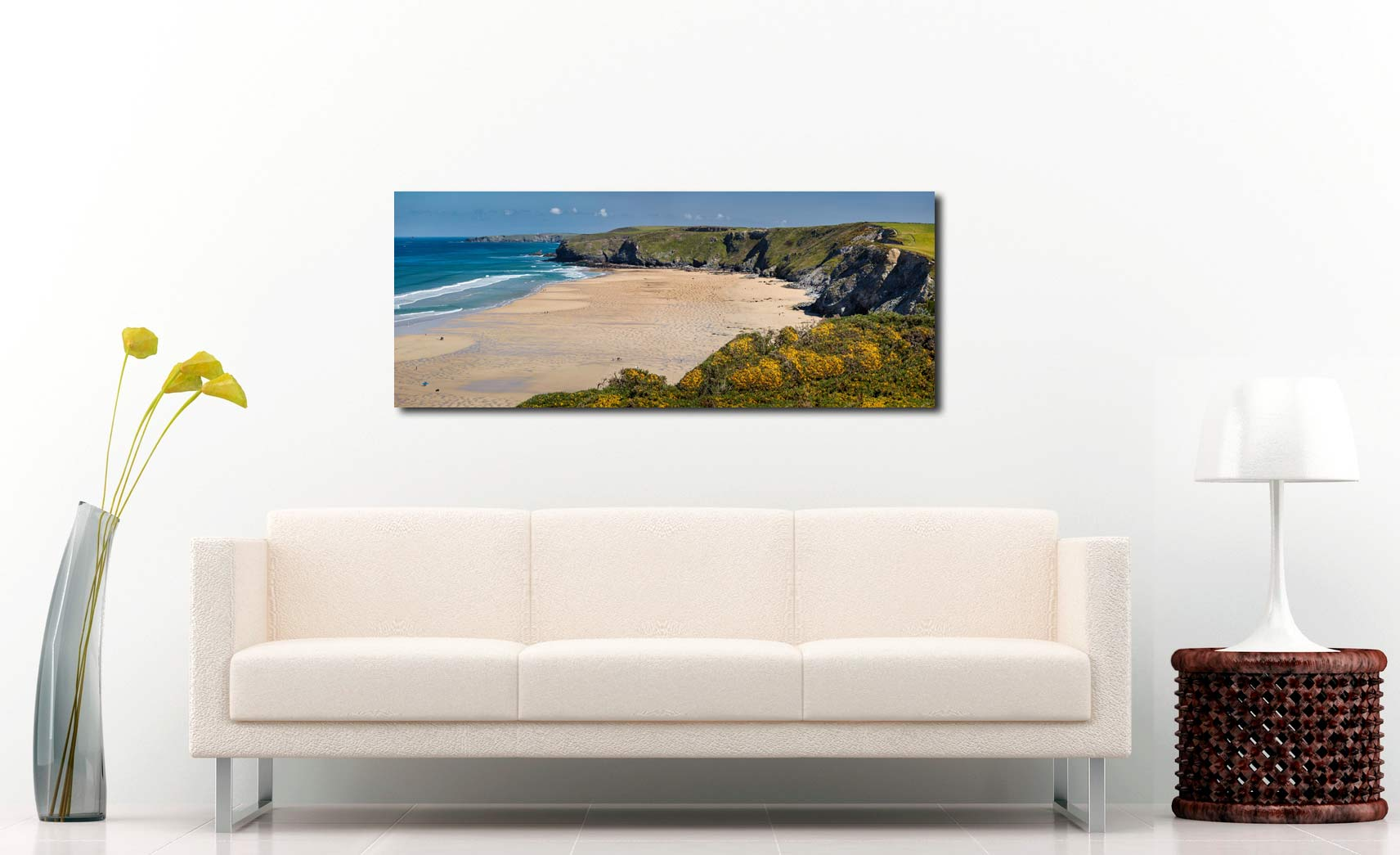 The golden sands of Watergate Bay on a sunny Spring day - Print Aluminium Backing With Acrylic Glazing on Wall