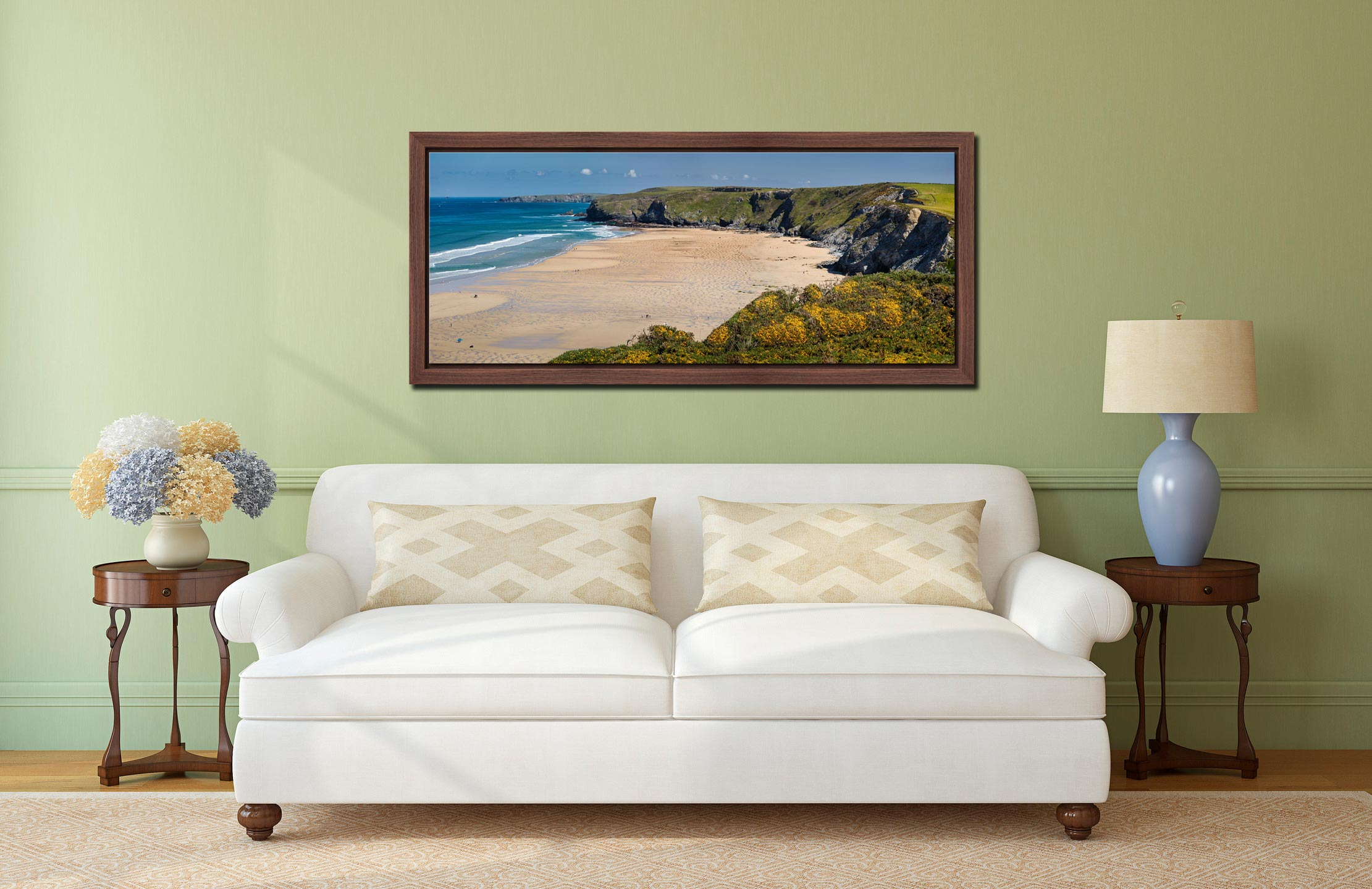 The golden sands of Watergate Bay on a sunny Spring day - Walnut floater frame with acrylic glazing on Wall