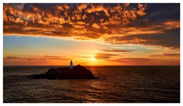 Sunset Over Godrevy Lighthouse - Cornwall Print