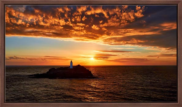 Sunset Over Godrevy Lighthouse - Modern Print
