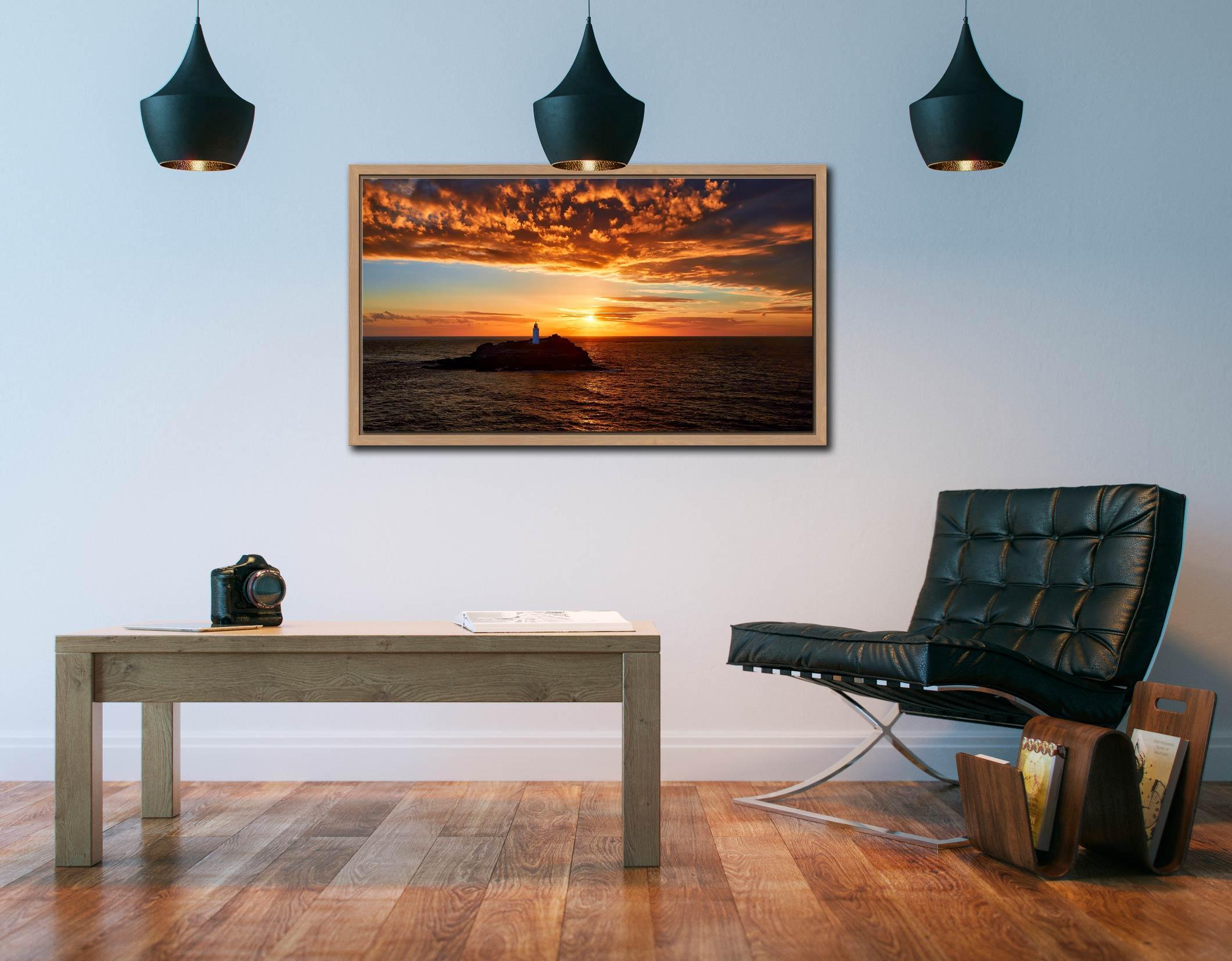 Sunset Over Godrevy Lighthouse - Oak floater frame with acrylic glazing on Wall