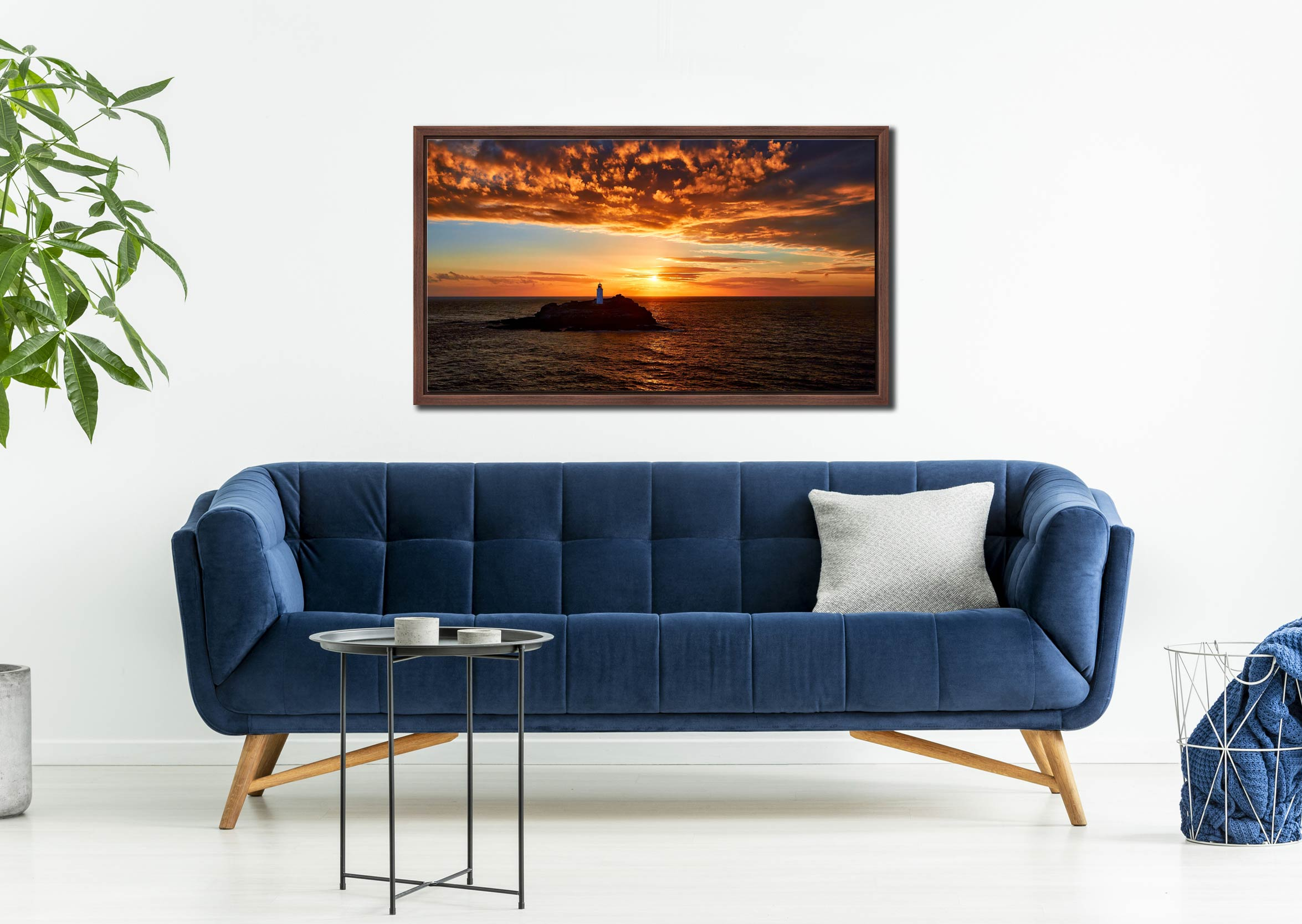 Sunset Over Godrevy Lighthouse - Walnut floater frame with acrylic glazing on Wall