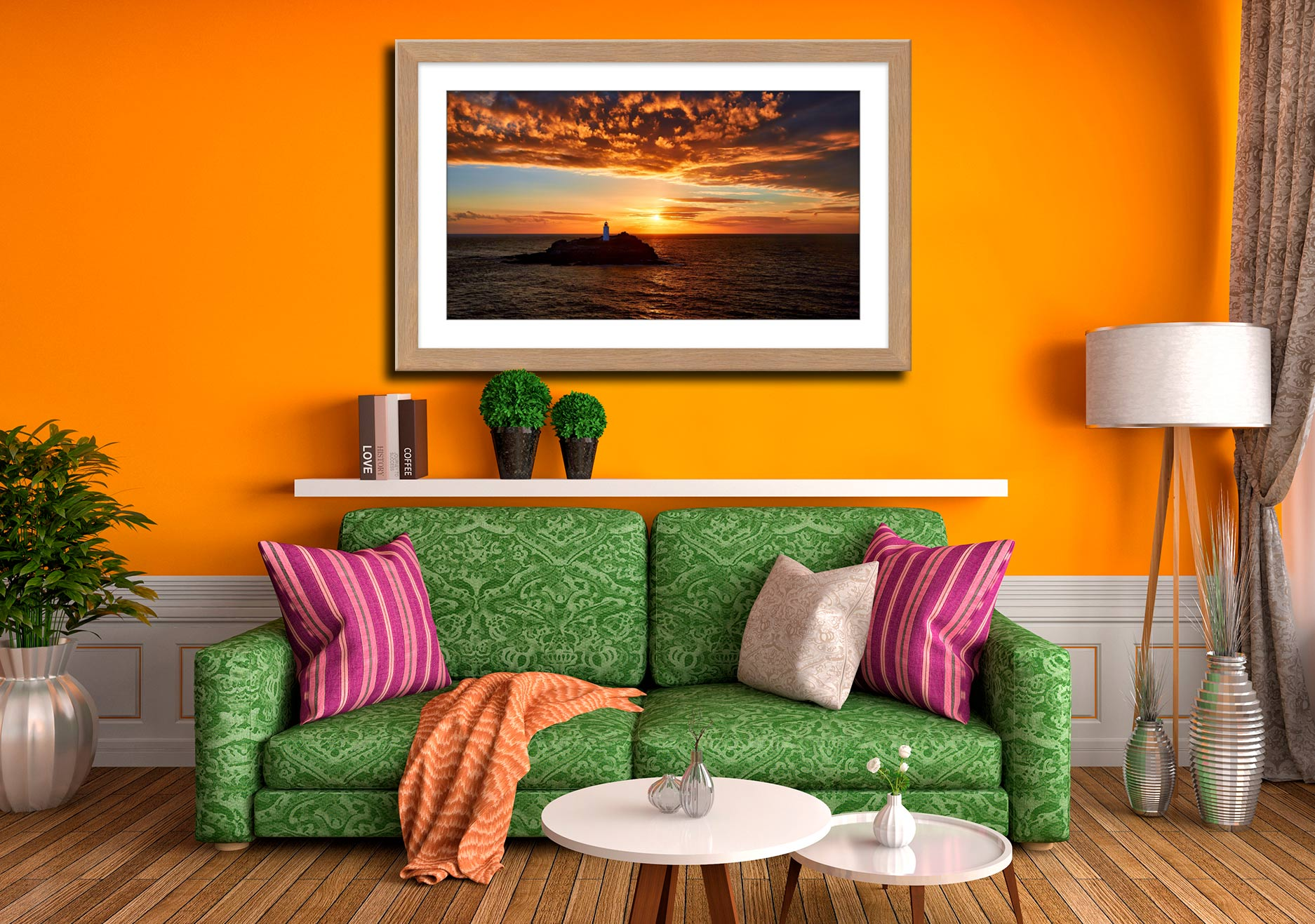 Sunset Over Godrevy Lighthouse - Framed Print with Mount on Wall