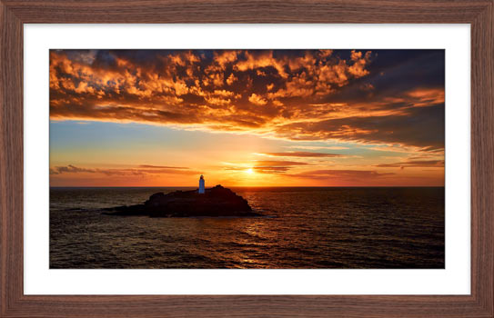 Sunset Over Godrevy Lighthouse - Framed Print with Mount