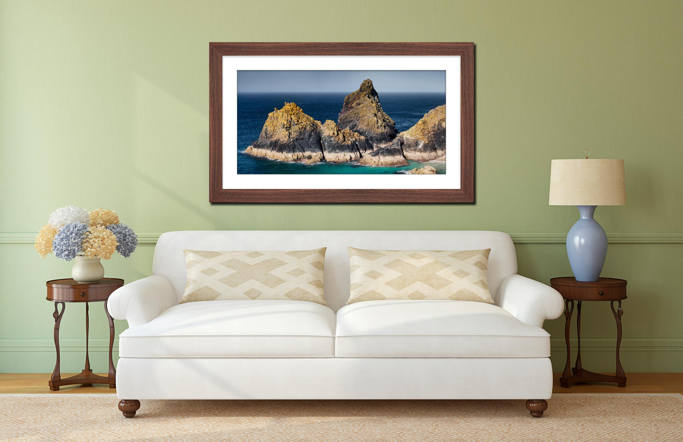 The Bishop Rock at Kynance - Framed Print with Mount on Wall