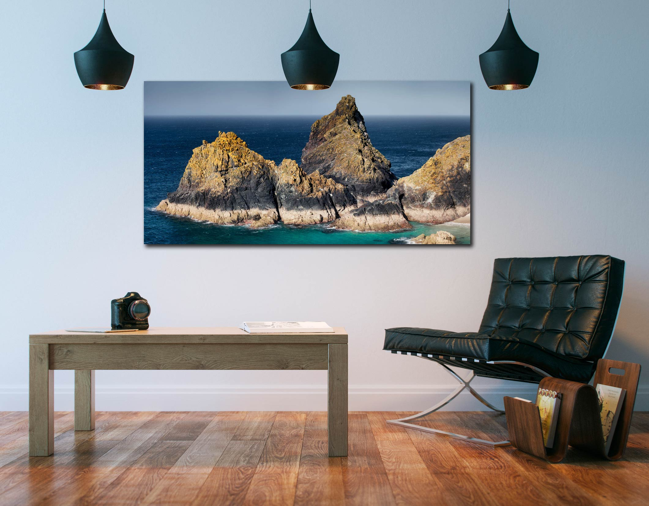 The Bishop Rock at Kynance - Print Aluminium Backing With Acrylic Glazing on Wall