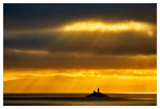 Morning Rays Over Godrevy Lighthouse - Cornwall Print