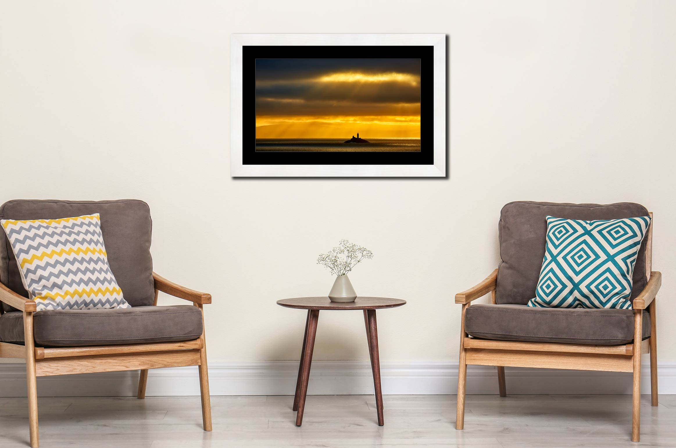 Morning Rays Over Godrevy Lighthouse - Framed Print with Mount on Wall