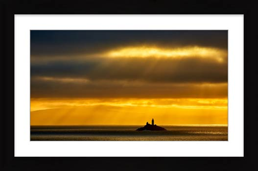 Morning Rays Over Godrevy Lighthouse - Framed Print with Mount