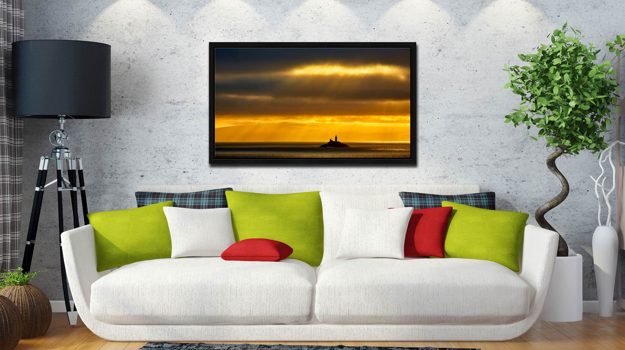 Morning Rays Over Godrevy Lighthouse - Black oak floater frame with acrylic glazing on Wall