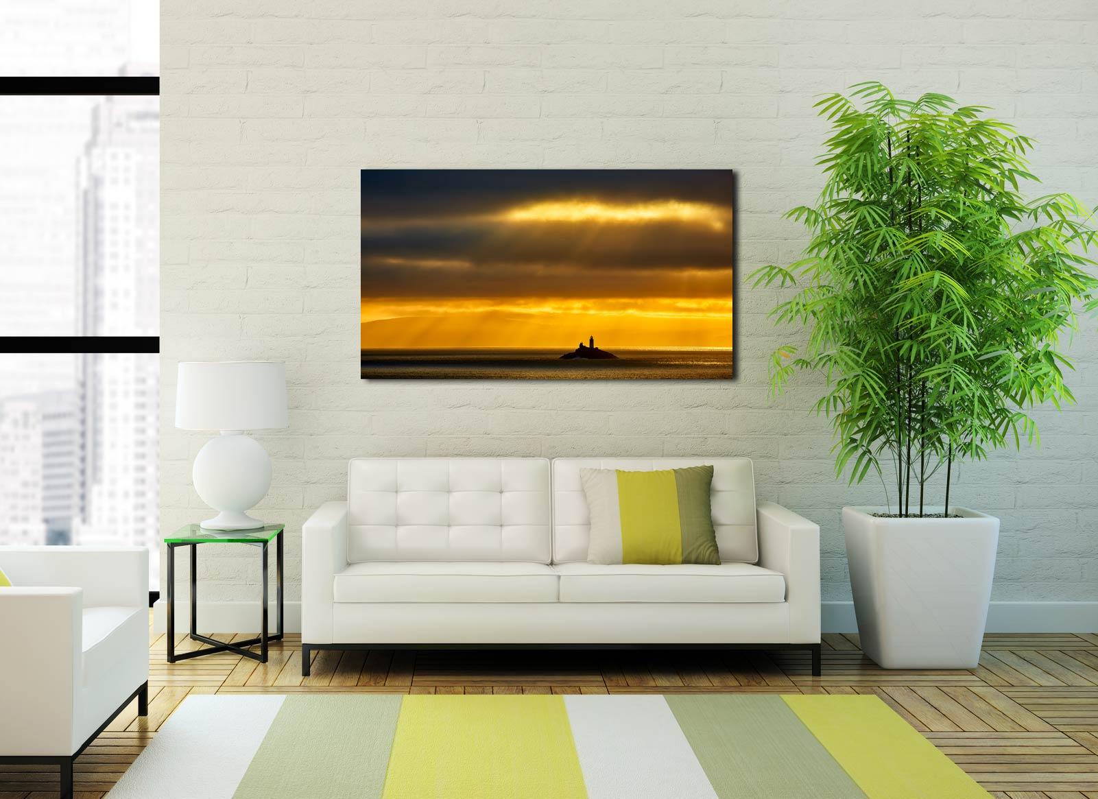 Morning Rays Over Godrevy Lighthouse - Print Aluminium Backing With Acrylic Glazing on Wall