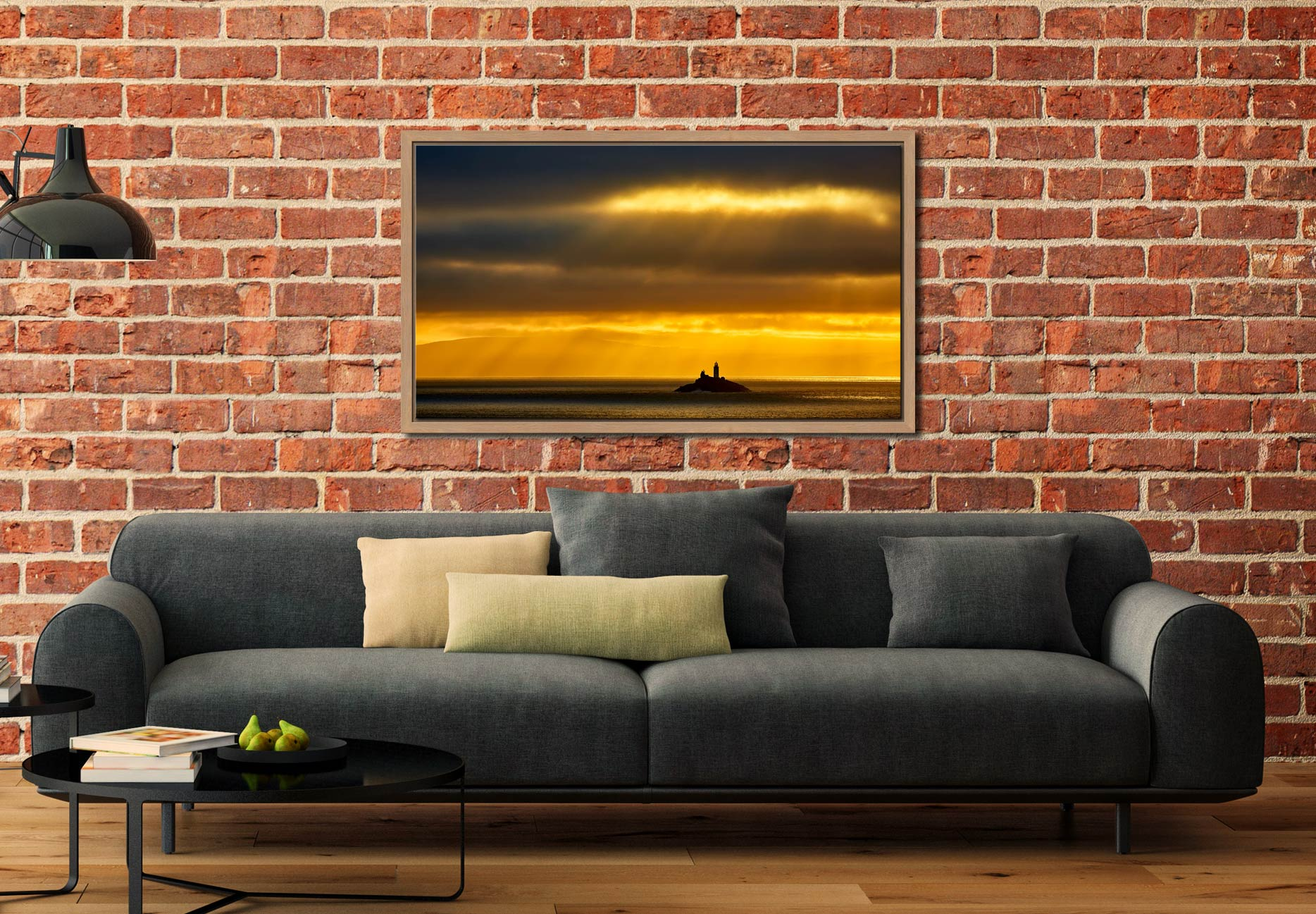 Morning Rays Over Godrevy Lighthouse - Oak floater frame with acrylic glazing on Wall