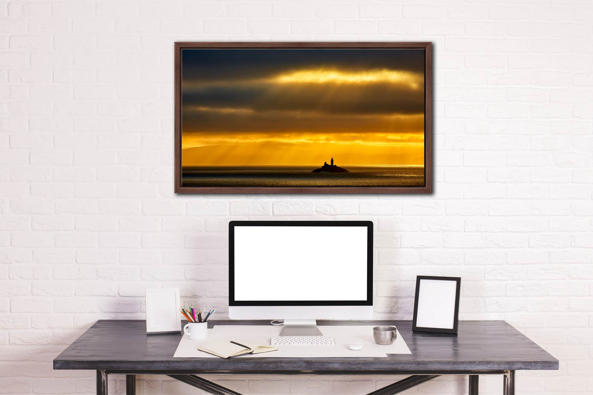 Morning Rays Over Godrevy Lighthouse - Walnut floater frame with acrylic glazing on Wall