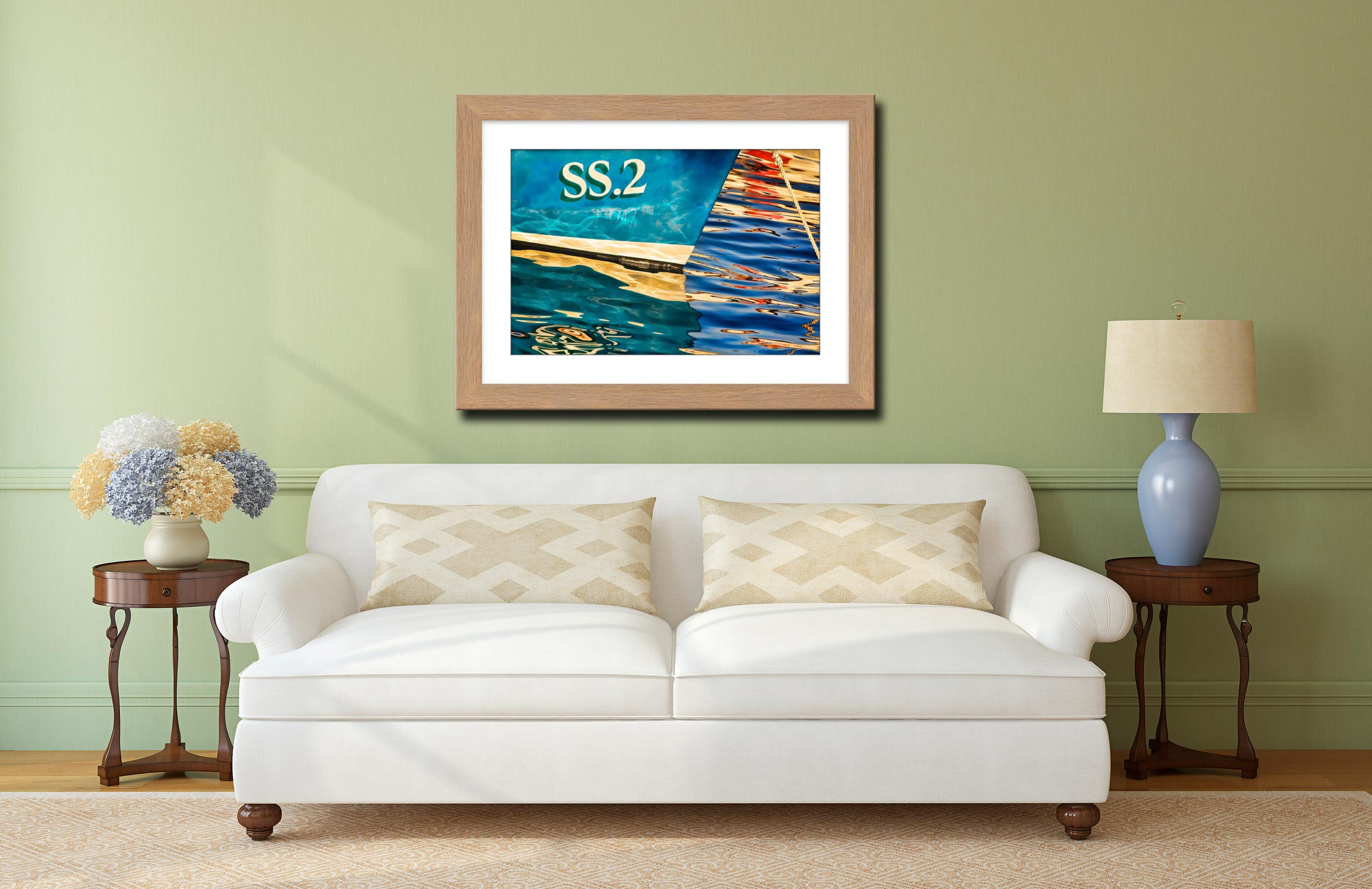 Water Colours St Ives Harbour - Framed Print with Mount on Wall
