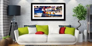 Crowded Harbour St Ives - Framed Print with Mount on Wall