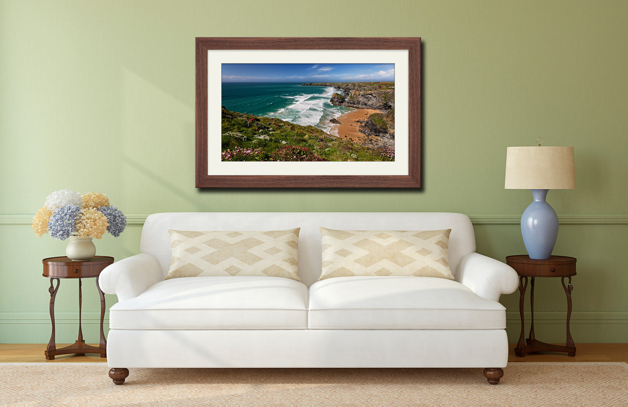 Wildflowers at Bedruthan Steps - Framed Print with Mount on Wall